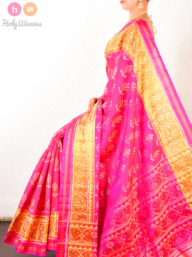 Pink Tree Patola Ikat Handwoven Silk Saree- HolyWeaves