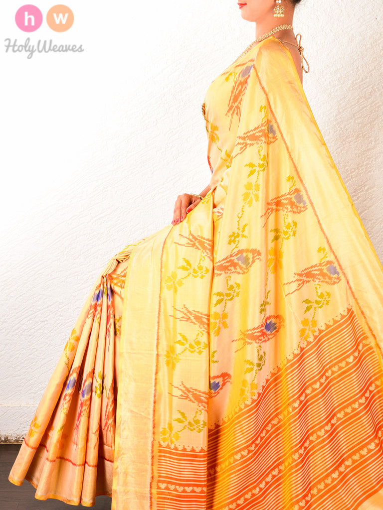 Golden Cream चिरईया Patola Ikat Handwoven Silk Saree - HolyWeaves
