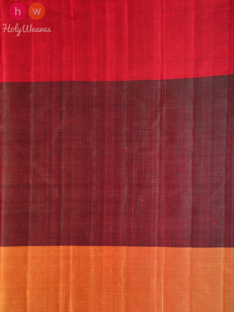 Mustard-Green-Red Contemporary Patola Ikat Handwoven Silk Saree - HolyWeaves