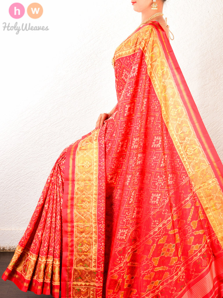 Red Traditional Patola Ikat Handwoven Silk Saree