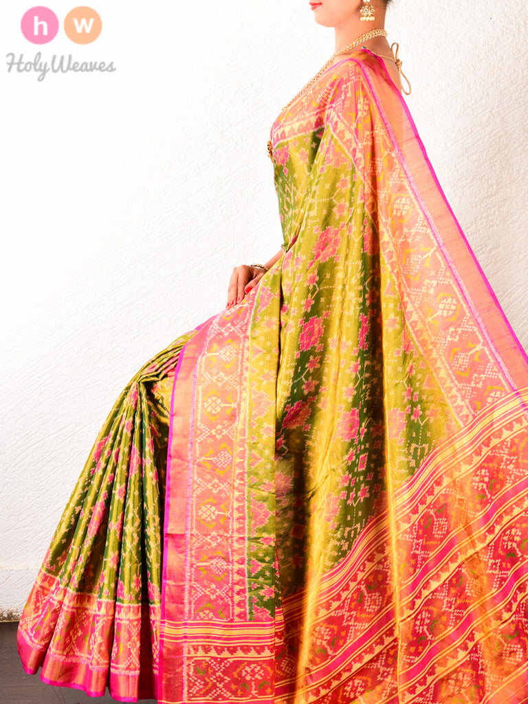 Green Traditional Patola Ikat Handwoven Silk TISSUE Saree with Pink Pallu & Blouse Piece - HolyWeaves