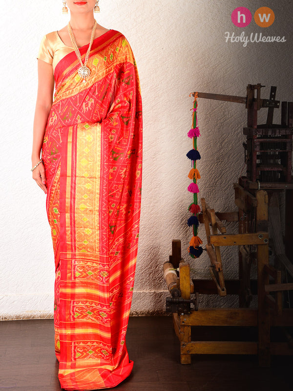 Red Popat-Kunjar Patola Ikat Handwoven Silk Saree - HolyWeaves