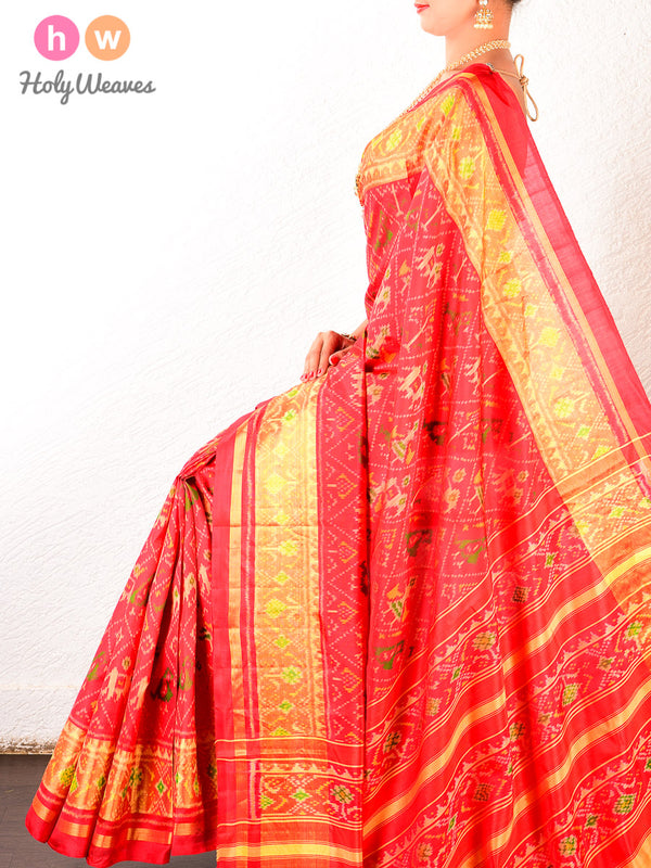 Red Popat-Kunjar Patola Ikat Handwoven Silk Saree- HolyWeaves