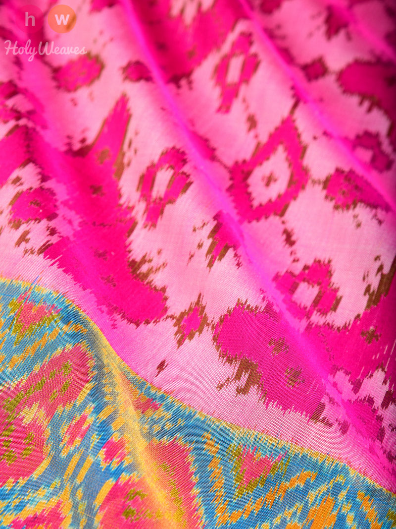 Light Pink Chaabadi Patola Ikat Handwoven Silk Saree - HolyWeaves