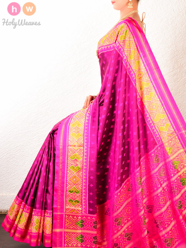 Purple Booti Patola Handwoven Silk Saree with Tissue Paan Borders - HolyWeaves