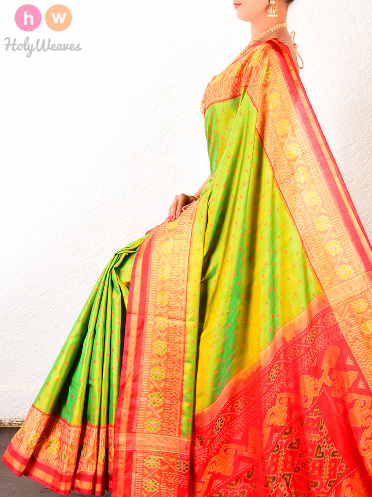 Green-Red Classic Patola Ikat Handwoven Silk Saree - HolyWeaves