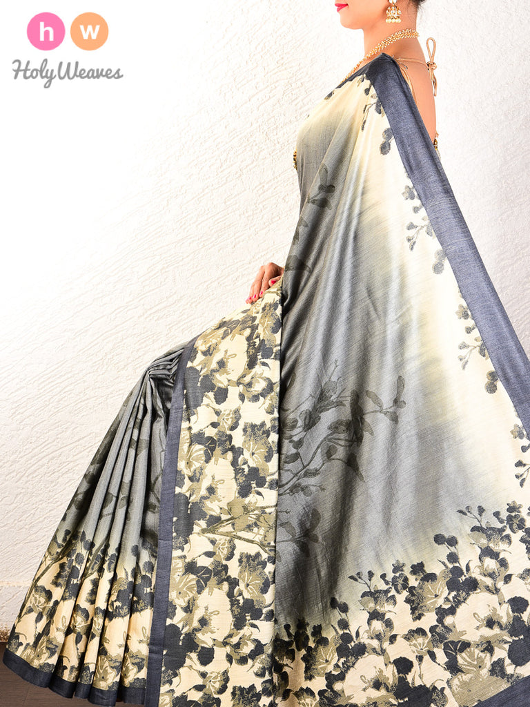 Cream-Grey Printed Contemporary Floral Vines Muga Silk Saree - HolyWeaves