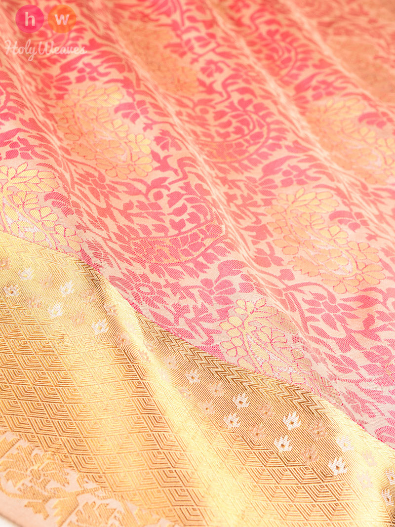 Beige Tanchoi Brocade Handwoven Silk Saree - HolyWeaves