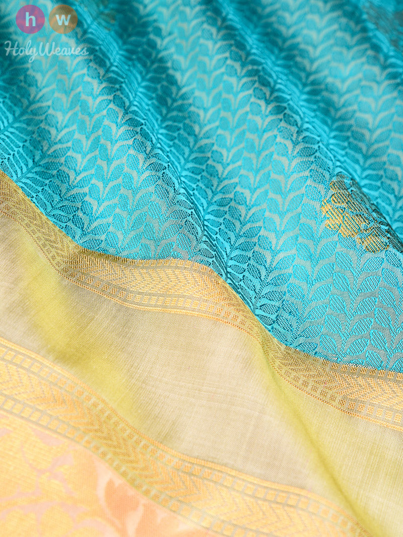 Blue Tanchoi Brocade Handwoven Silk Saree - HolyWeaves