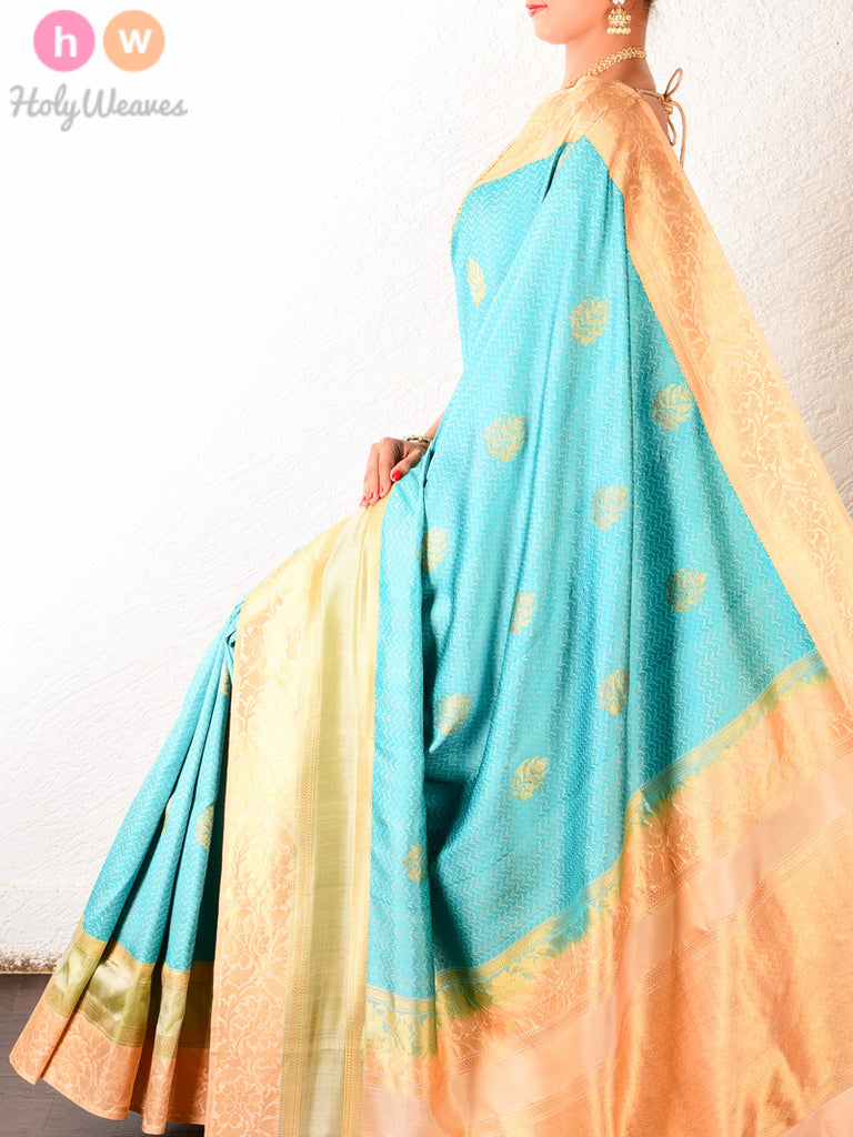 Blue South Tanchoi Brocade Handwoven Silk Saree - HolyWeaves