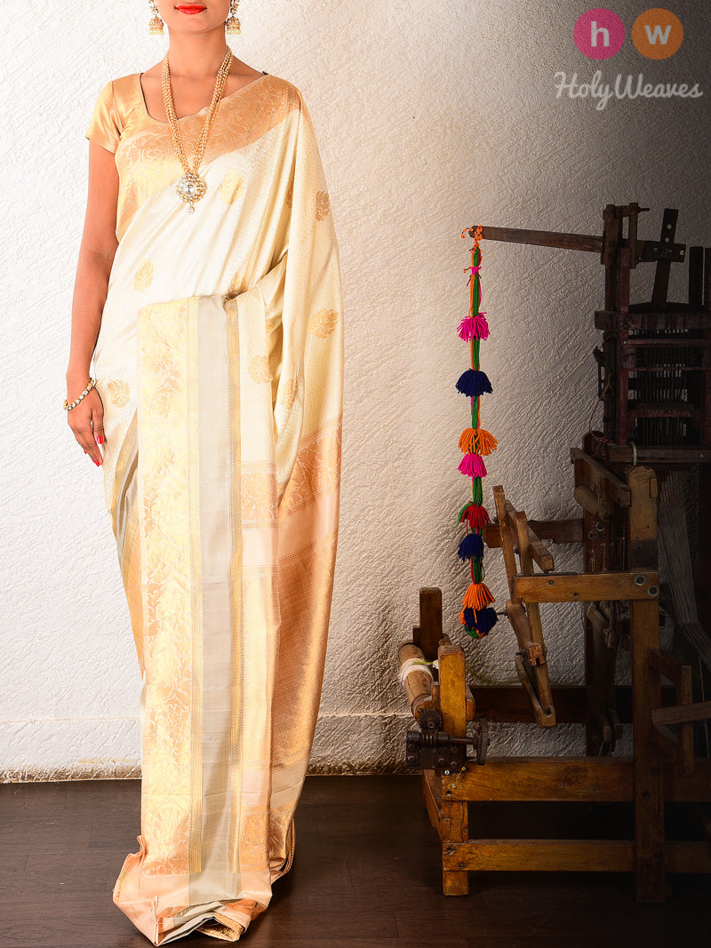Cream Tanchoi Brocade Handwoven Silk Saree - HolyWeaves
