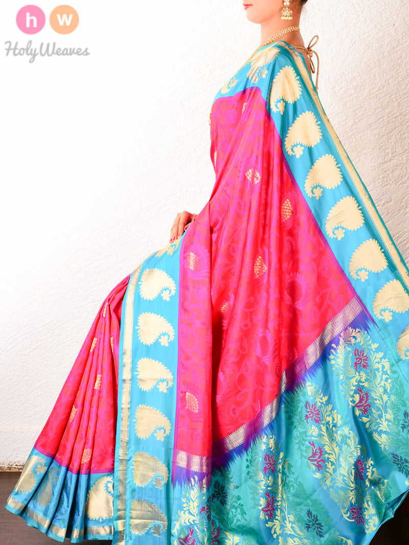 Pink Tanchoi Brocade Handwoven Silk Saree with Blue Border-pallu - HolyWeaves