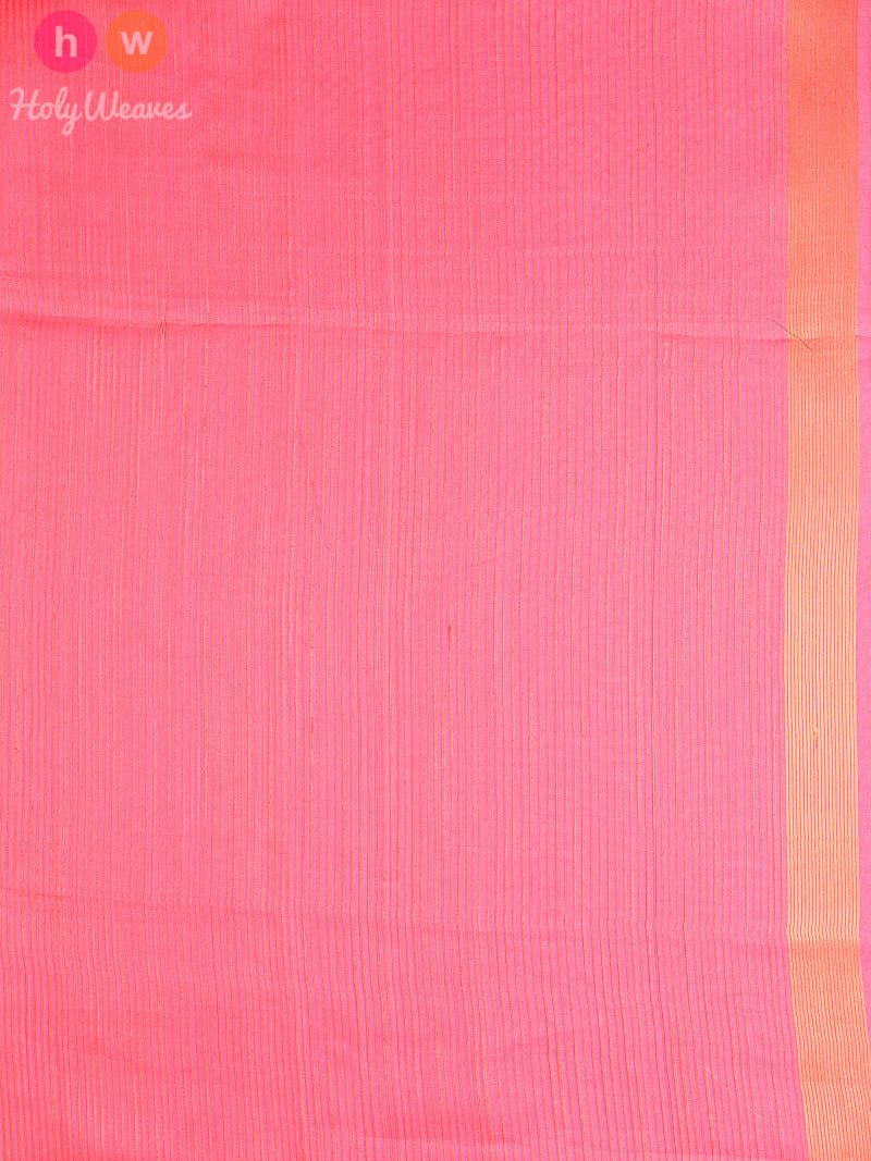 Peach Banarasi Cutwork Brocade Handwoven Kora (कोरा) Silk Saree - HolyWeaves