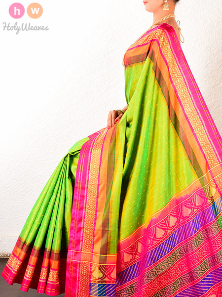 Green Contemporary Patola Ikat Handwoven Silk Saree with Pink Contrast