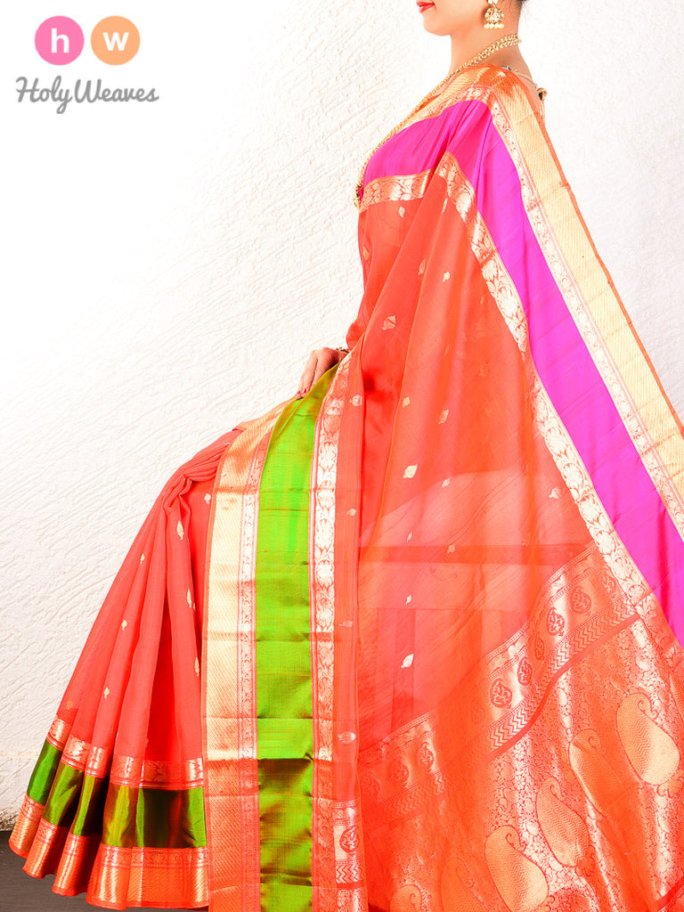 Orange Cutwork Brocade Handwoven Dupion Silk Saree - HolyWeaves