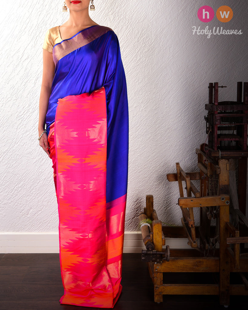 Blue Kadhuan (कढ़ुआँ) Brocade Handwoven Silk Saree