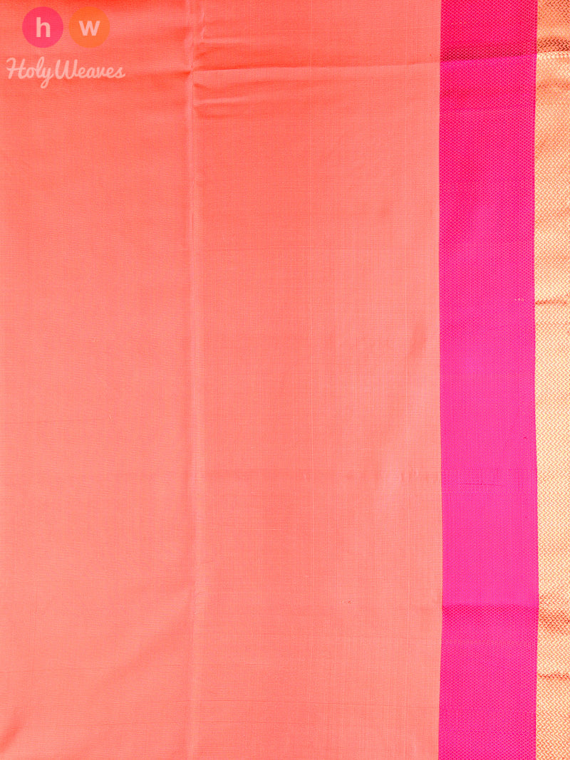 Peach Brocade Handwoven Silk Saree - HolyWeaves