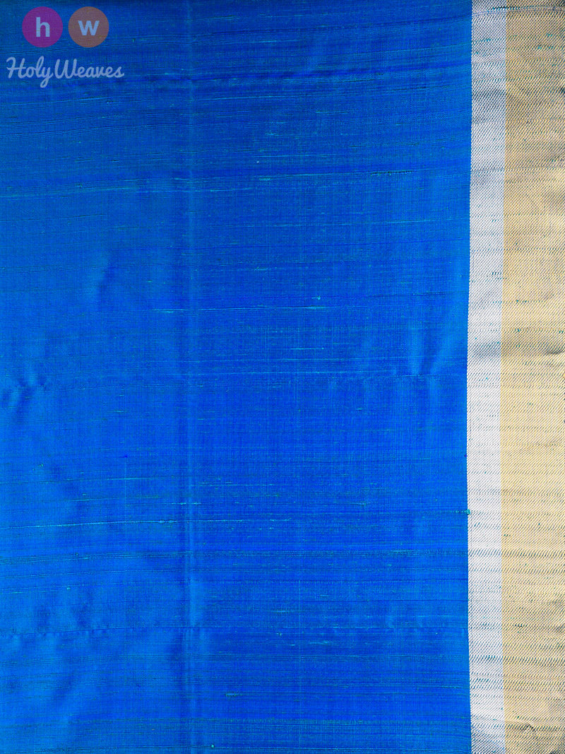 Blue Brocade Handwoven Silk Saree - HolyWeaves