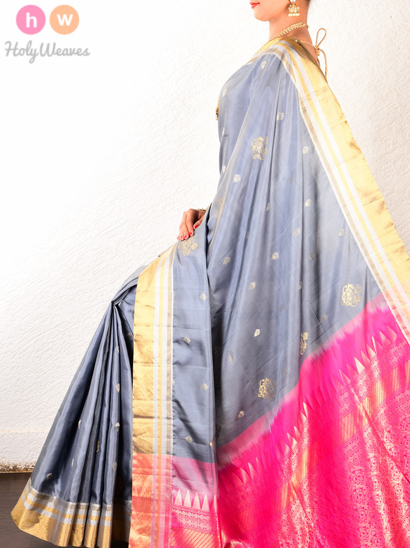 Grey Brocade Handwoven Silk Saree with Pink Pallu - HolyWeaves