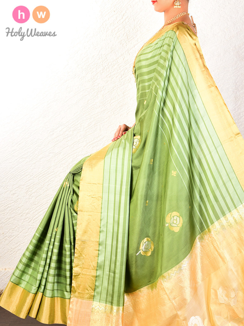 Green Kadhuan Brocade Handwoven Pure Silk Saree - HolyWeaves