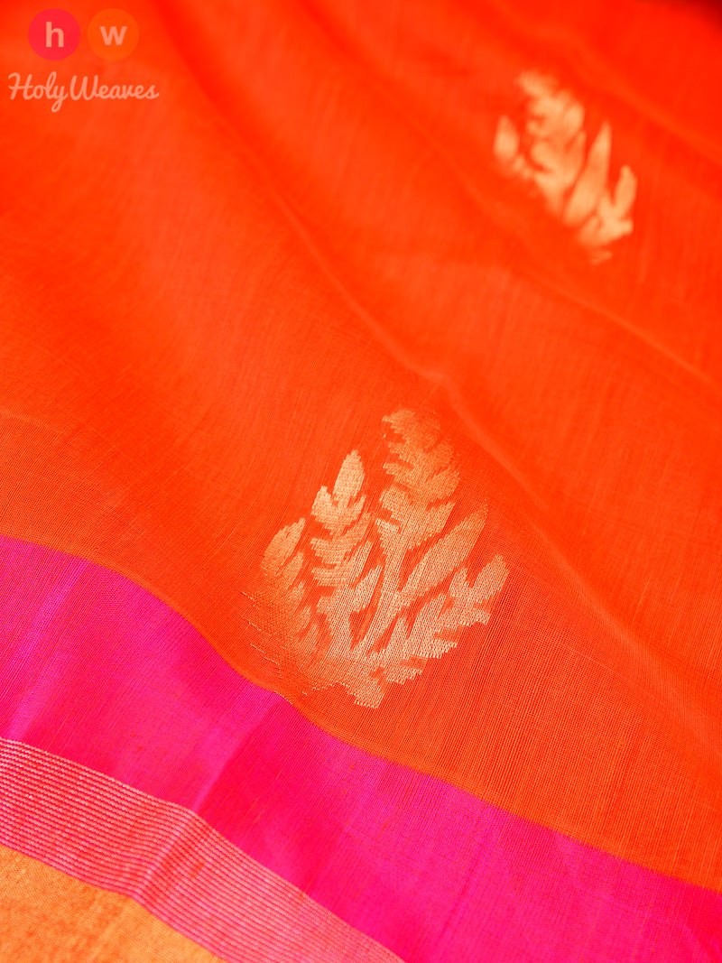 Orange Cutwork Brocade Handwoven Linen Silk Saree - HolyWeaves