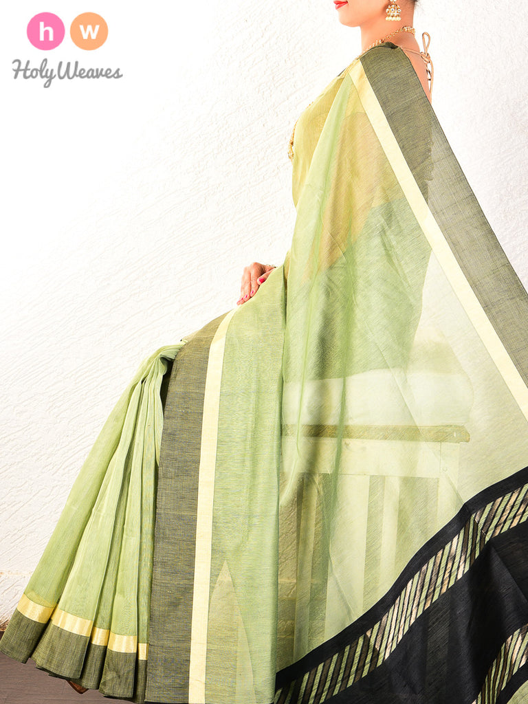 Green Cutwork Brocade Handwoven Linen Silk Saree - HolyWeaves