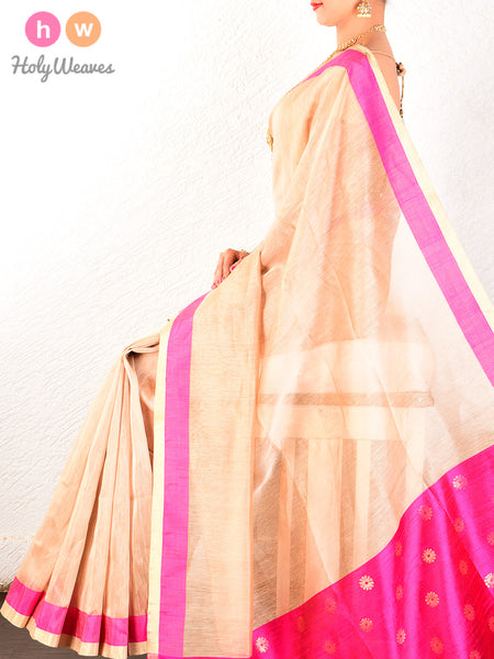 Beige Cutwork Brocade Handwoven Linen Silk Saree - HolyWeaves