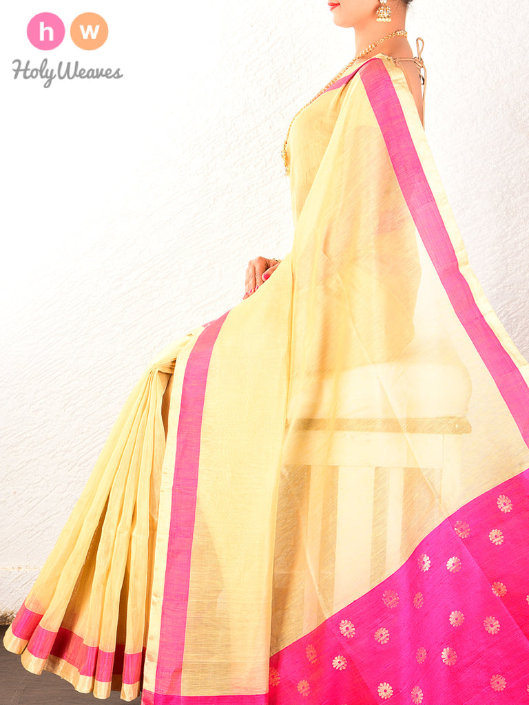 Cream Cutwork Brocade Handwoven Linen Silk Saree - HolyWeaves