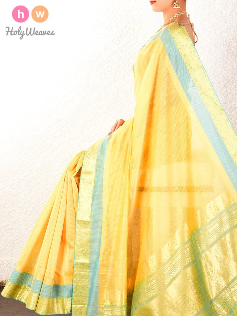 Yellow Cutwork Brocade Handwoven Pure Cotton Silk Saree - HolyWeaves