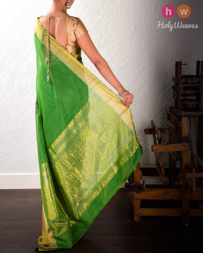 Green Cutwork Brocade Handwoven Cotton Silk Saree