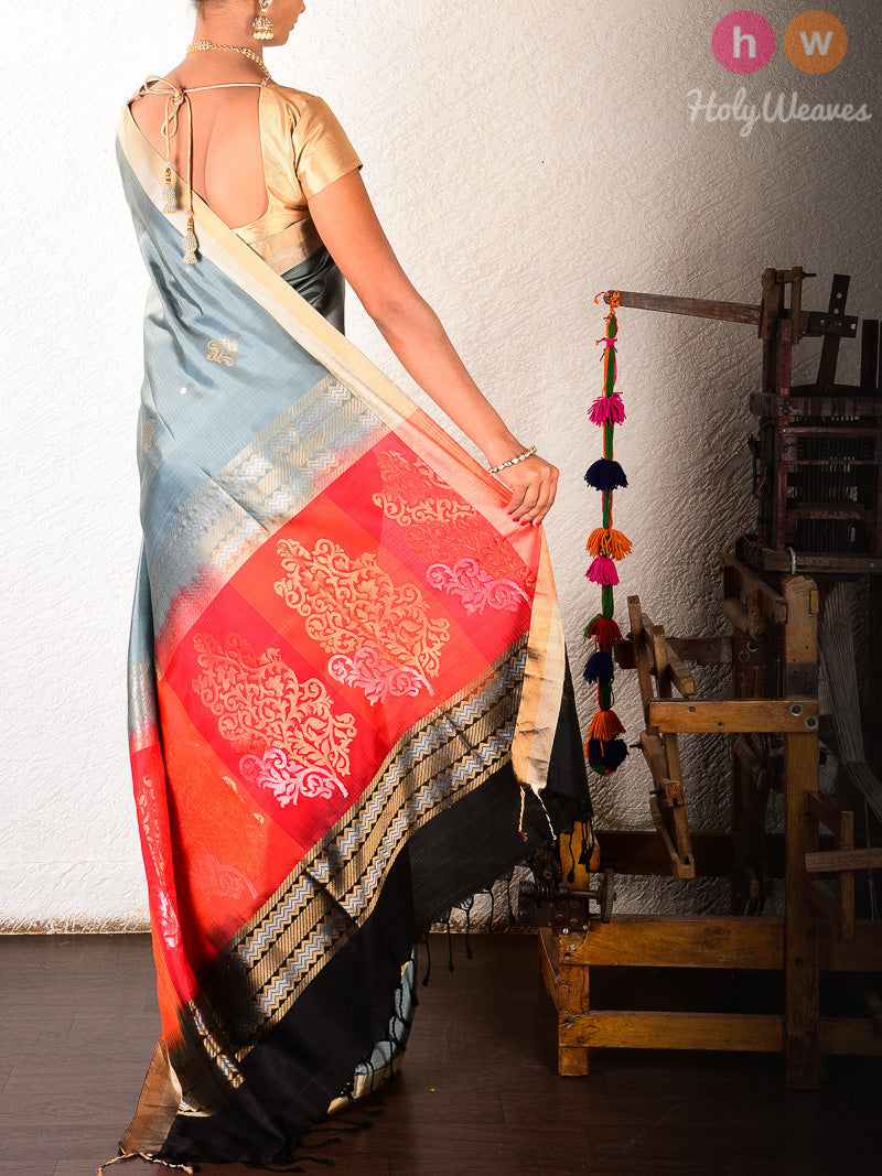 Grey Brocade Handwoven Silk Saree with Red-Black Pallu - HolyWeaves