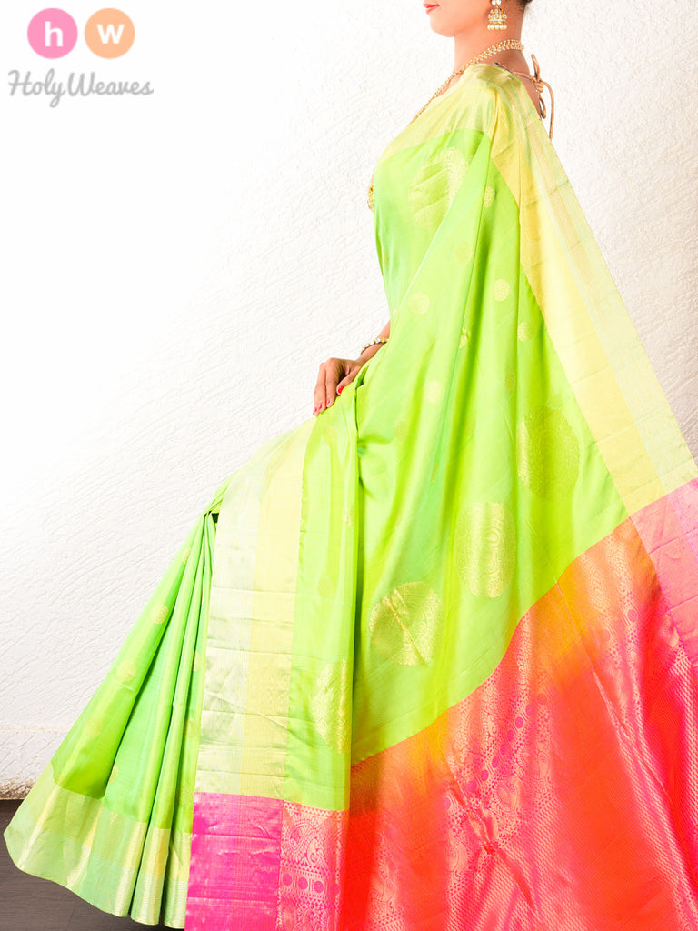 Green South Brocade Handwoven Silk Saree with Pink Pallu - HolyWeaves