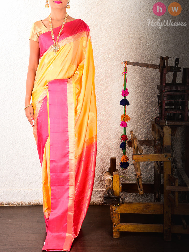 Yellow Brocade Handwoven Silk Saree - HolyWeaves