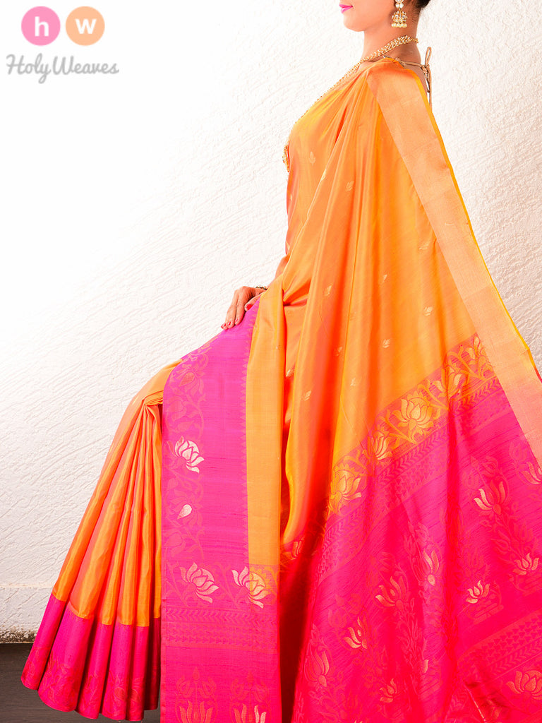 Orange South Brocade Handwoven Silk Saree - HolyWeaves