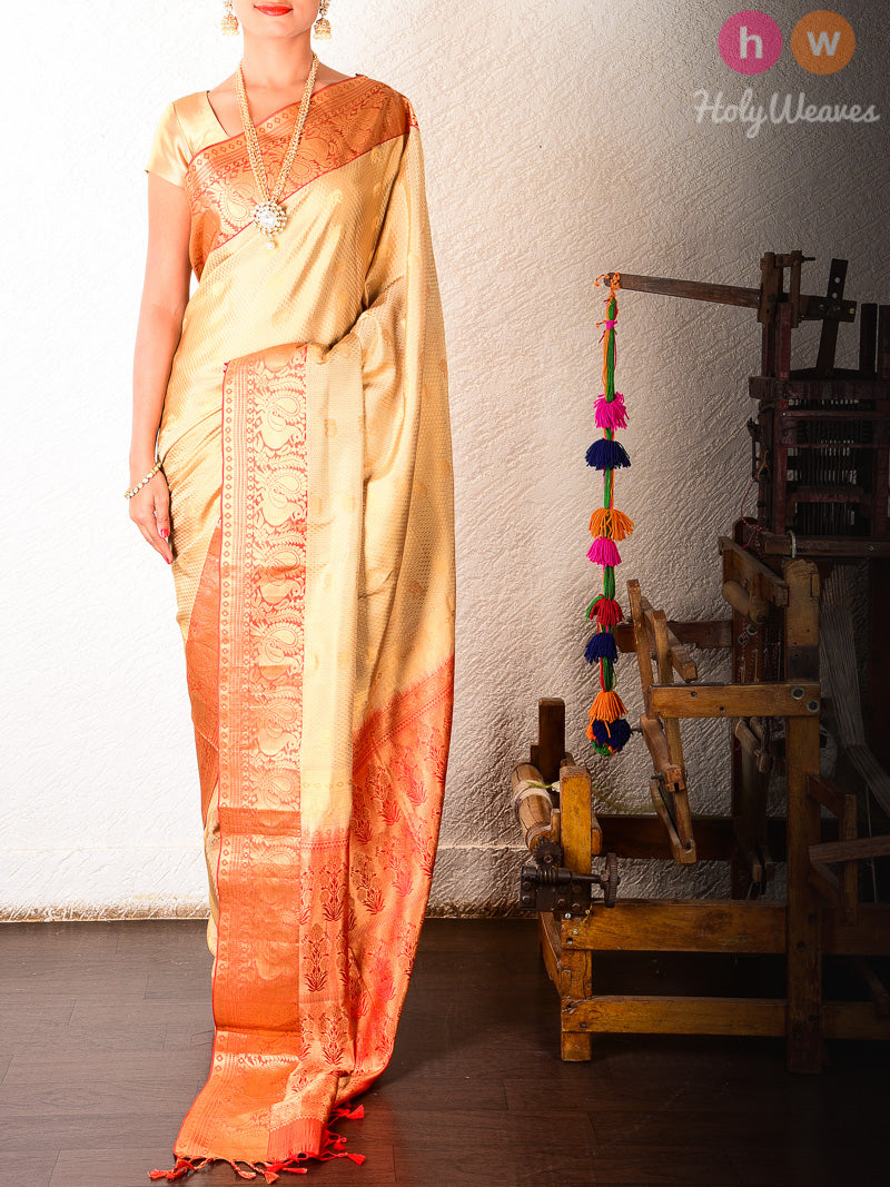 Beige Tanchoi Brocade Handwoven Silk Saree with Kanjivaran Border - HolyWeaves