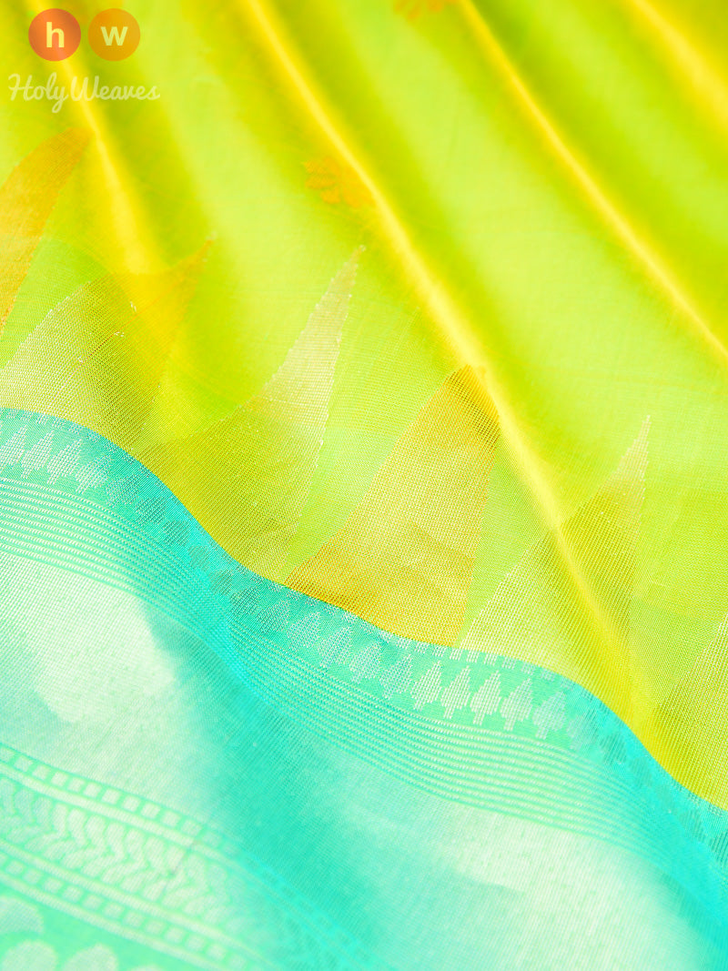 Green Brocade Handwoven Silk Saree - HolyWeaves
