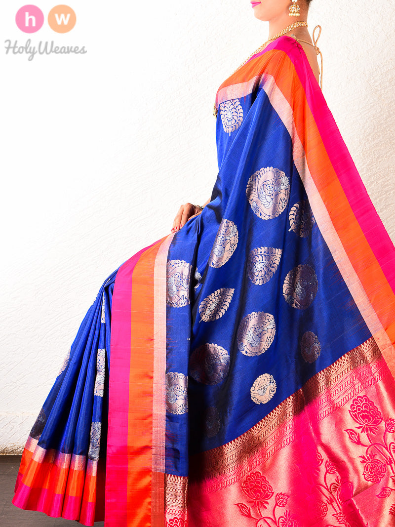 Navy Blue Alfi Brocade Handwoven Silk Saree with Multi-color stripes - HolyWeaves