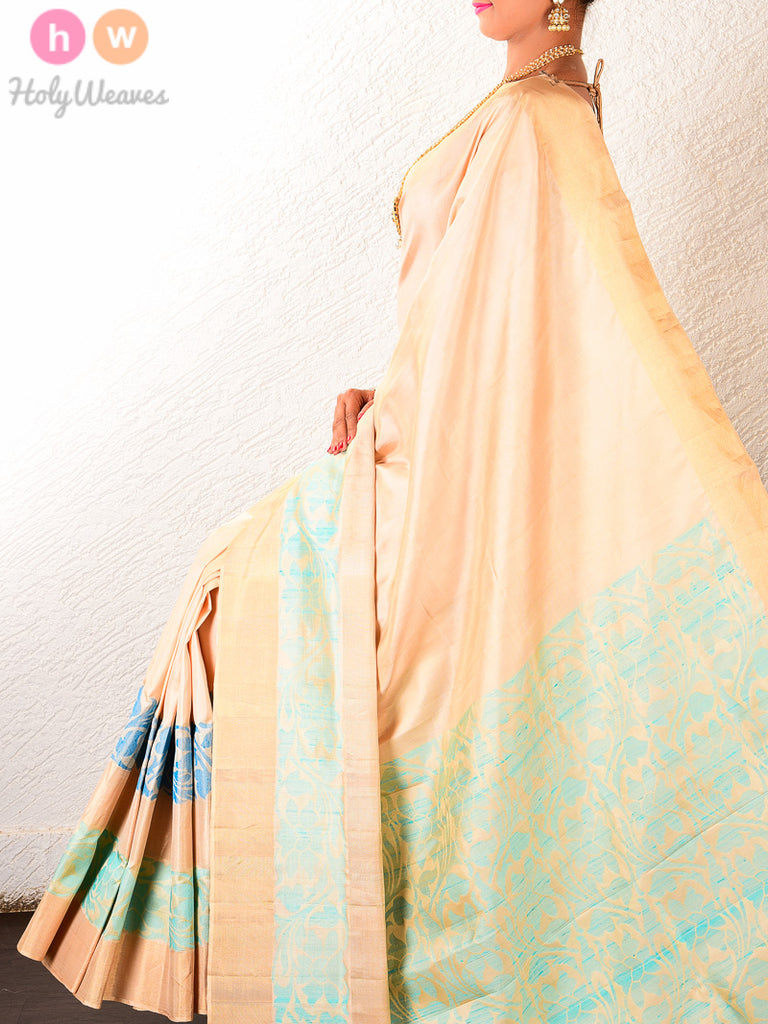 Cream South Brocade Handwoven Silk Saree