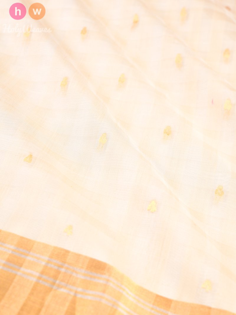 Cream Cutwork Brocade Handwoven Pure Cotton Silk Saree - HolyWeaves