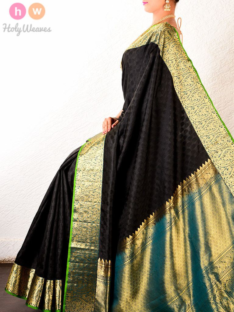 Black South Tanchoi Brocade Handwoven Silk Saree