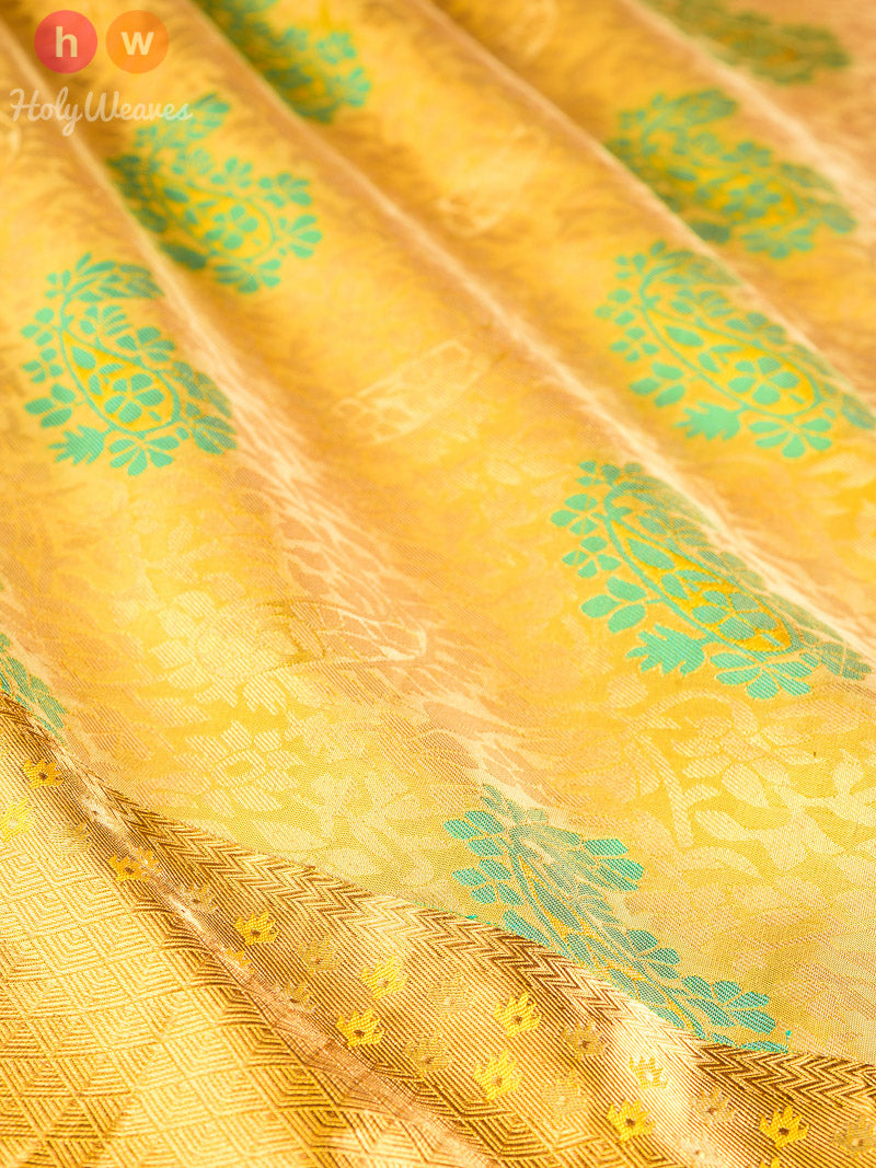 Green Tanchoi Brocade Handwoven Silk Saree - HolyWeaves