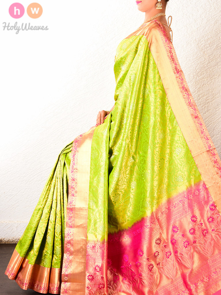 Green South Alfi Brocade Handwoven Silk Saree - HolyWeaves