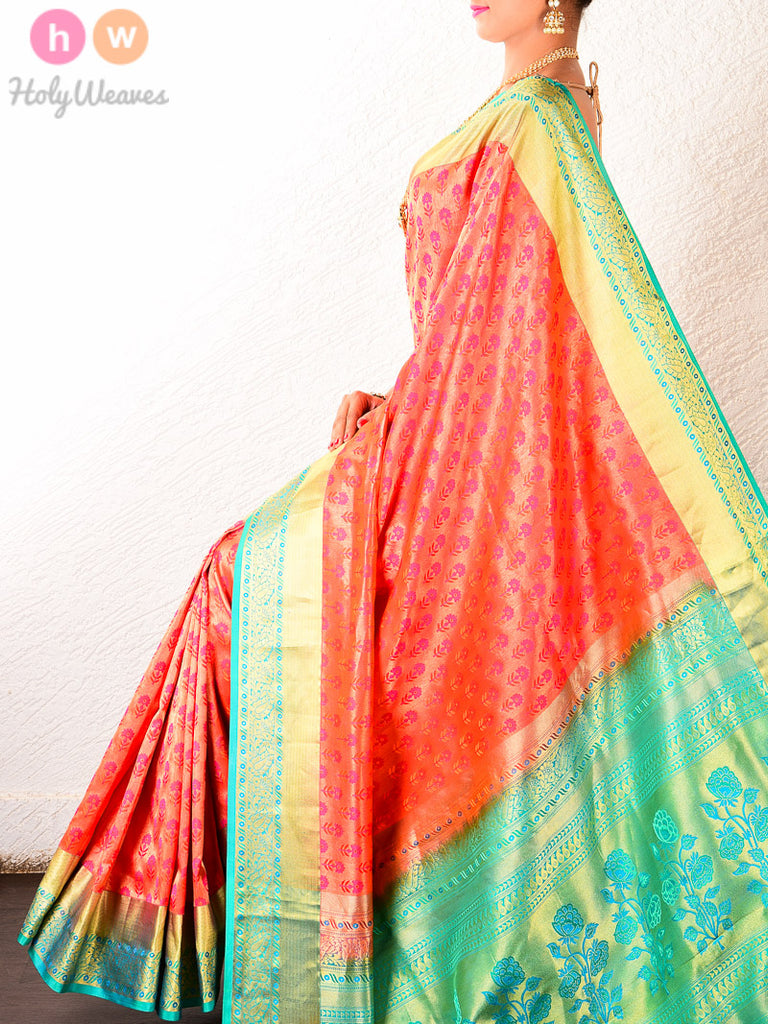 Orange South Brocade Handwoven Silk Tissue Saree with Blue Border-pallu - HolyWeaves