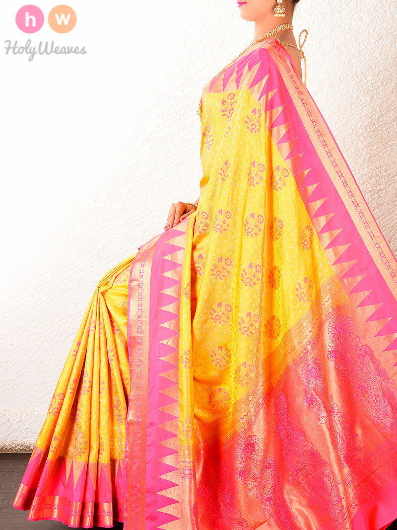 Yellow Tanchoi Brocade Handwoven Silk Saree - HolyWeaves