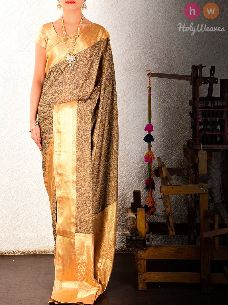 Brown Tanchoi Brocade Handwoven Pure Cotton Silk Saree- HolyWeaves