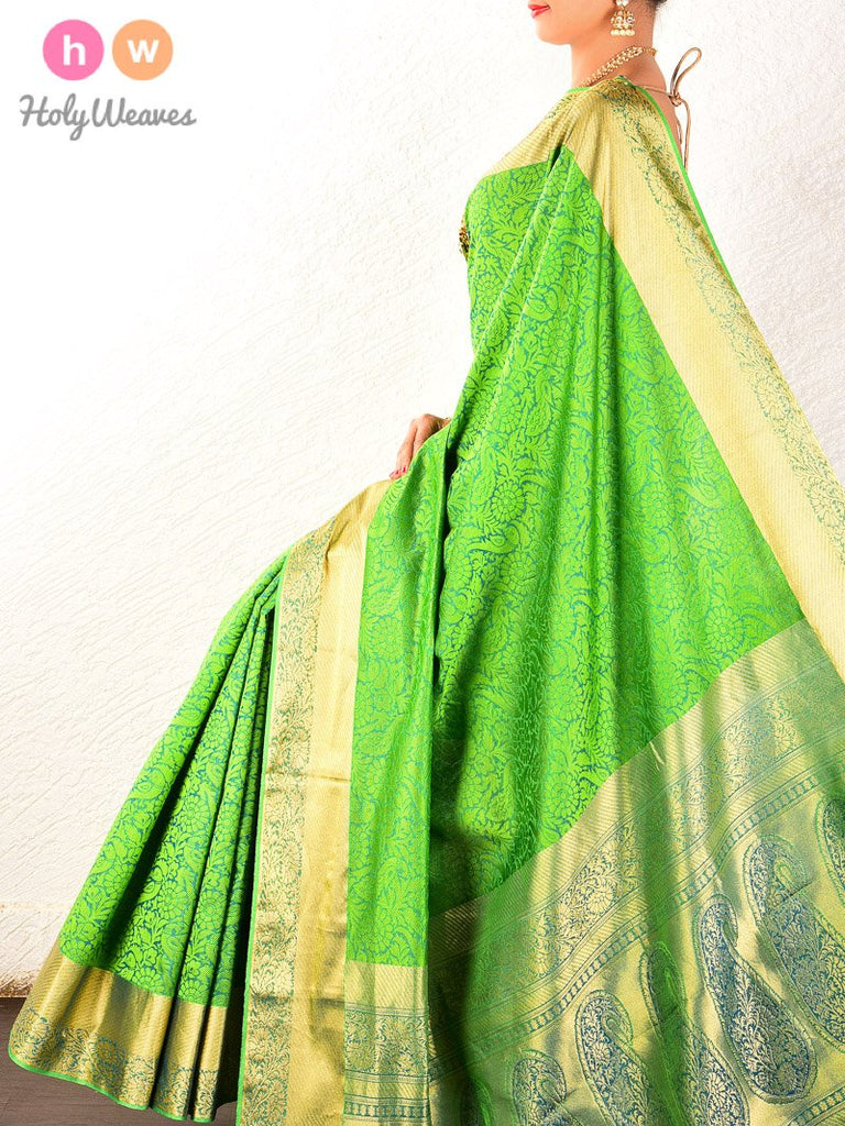 Green Tanchoi Brocade Handwoven Pure Cotton Silk Saree - HolyWeaves