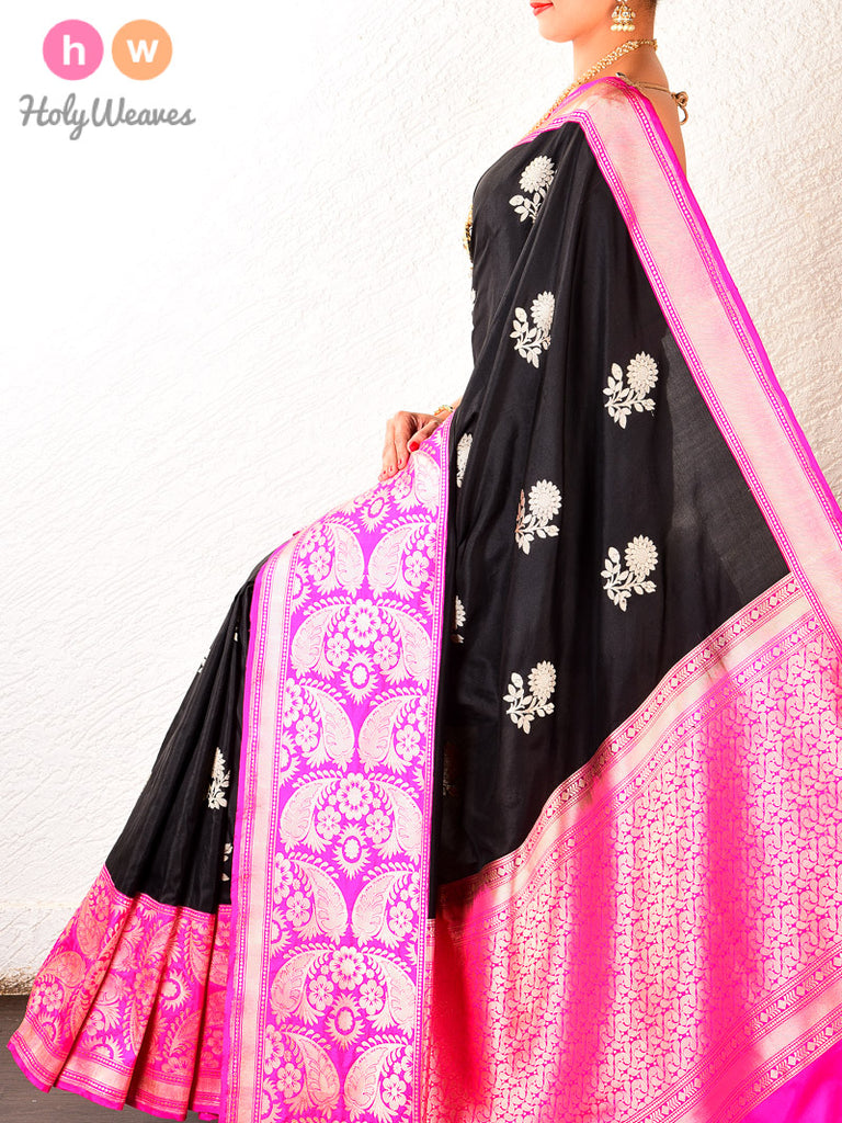 Black Kadhuan Brocade Handwoven Katan Silk Saree with Kadiyal Borders - HolyWeaves