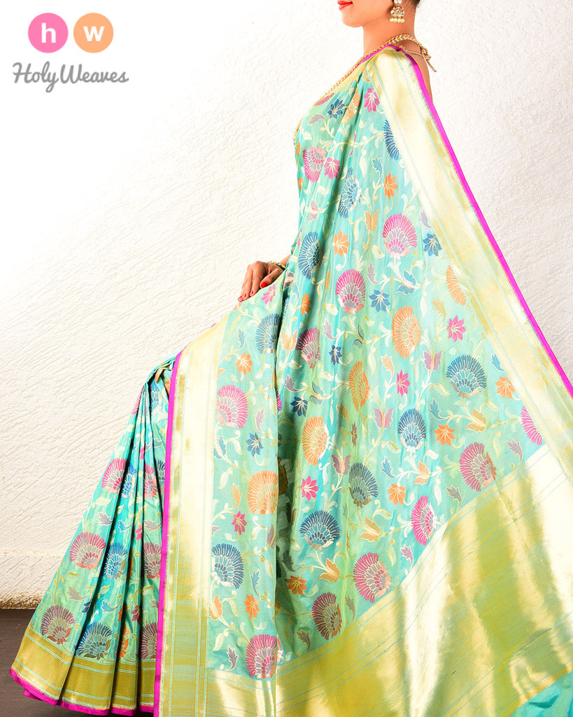 Green Banarasi Cutwork Brocade Handwoven Katan Silk Saree