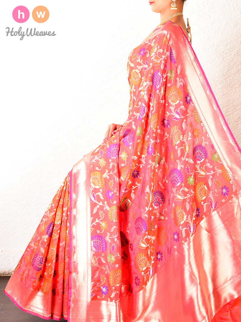 Peach Banarasi Cutwork Brocade Handwoven Katan Silk Saree