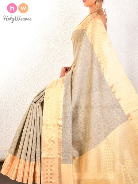 Grey Tanchoi Brocade Handwoven Pure Cotton Silk Saree - HolyWeaves